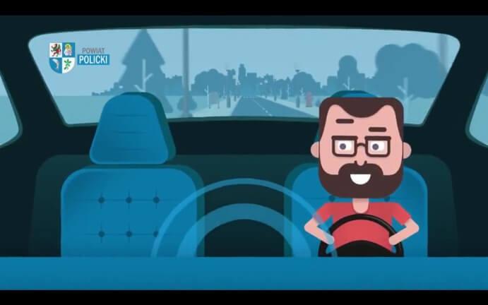 Animacja rysunkowa kierowca prowadzący samochód