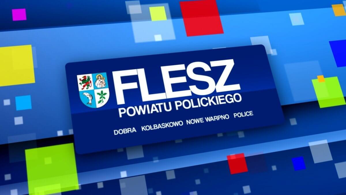 """Zdjęcie przedstawia logotyp programu """"Flesz Powiatu Polickiego"""""""