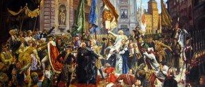 Obraz Jana Matejko upamiętniający uchwalenie Konstytucji 3 Maja.Patrząc na obraz, jego centralną postacią jest niesiony na rękach marszałek Sejmu Wielkiego Stanisław Małachowski.