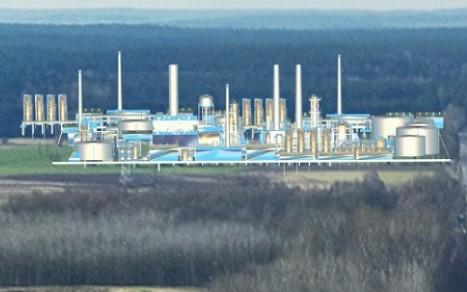 W tle fabryka zakładów chemicznych.