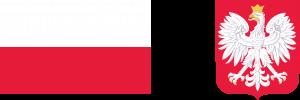 Biało-czerwona flaga Rzeczypospolirtej Polskiej oraz godło Rzeczypospolitej Polskiej biały orzeł w koronie na czerwonym tle
