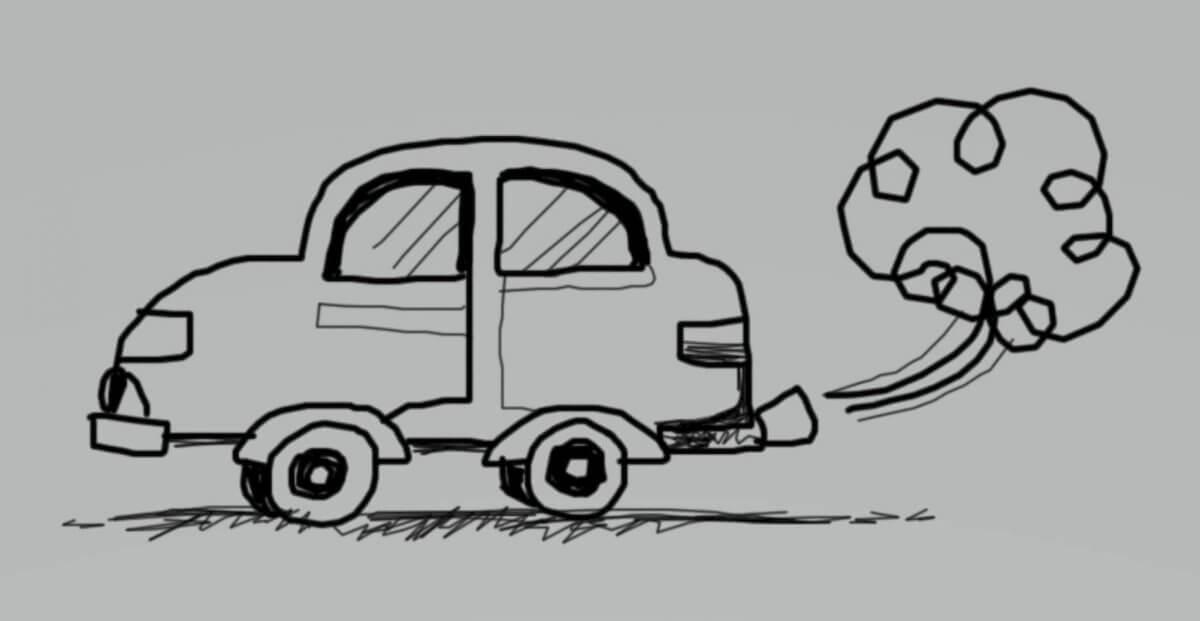 Rysunek auta z rurą wydechową