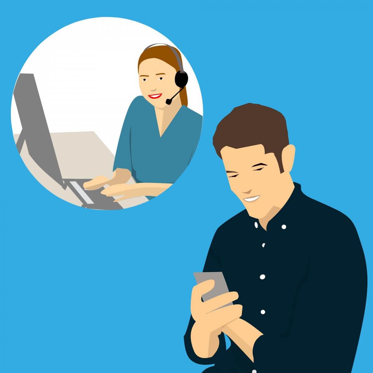 Obraz przedstawia mężczyznę i kobietę kontaktujących się ze sobą telefonicznie