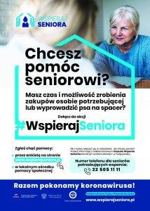 Plakat z informacjami dla wolontariuszy chcących pomóc Seniorom w dobie pandemii w ramach ogólnopolskiej akcji WSPIERAJ SENIORA