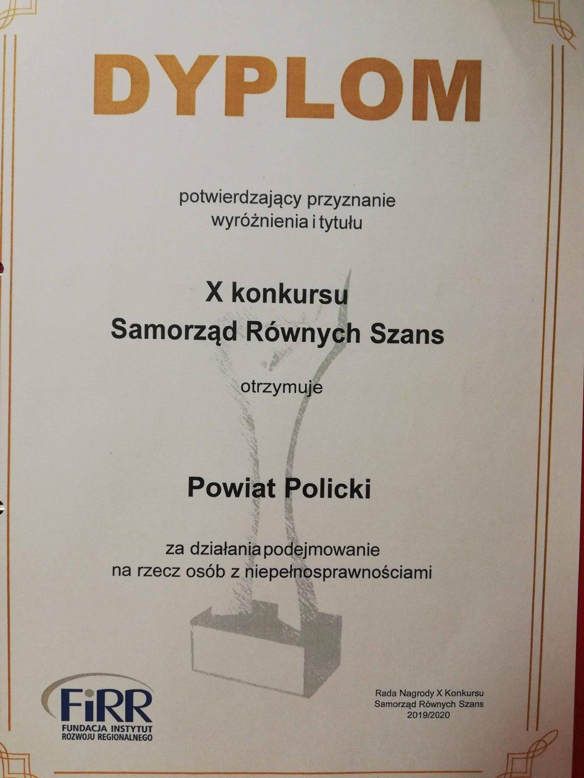 """Dyplom za wyróżnienie w konkursu """"Samorząd równych szans"""""""