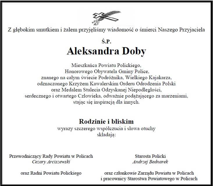 Kondolencje śp. Aleksandra Doby