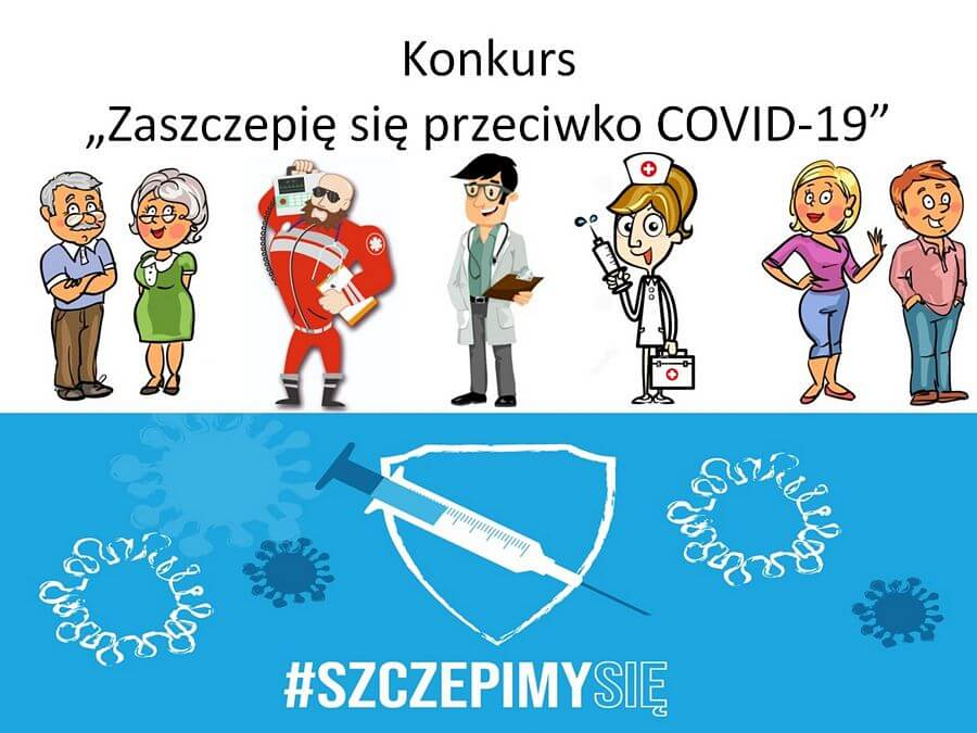 Grafika dotycząca konkursu Zaszczepię się przeciwko COVID-19w ramach ogólnopolskiej akcji #szczepimysię