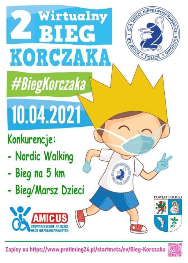 """Plakat promujący """"2 Wirtualny Bieg Korczaka"""""""