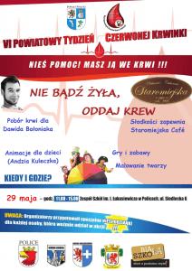 Plakat promujący VI Powiatowy Tydzień Czerwonej Krwinki