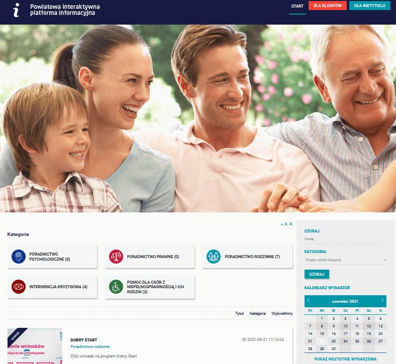 Zrzut ekranu Powiatowej Interaktywnej Platformy Informacyjnej