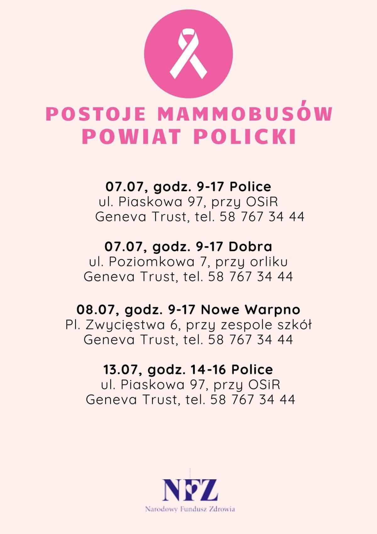Ulotka promująca postój mammobusów w Powiecie Polickim
