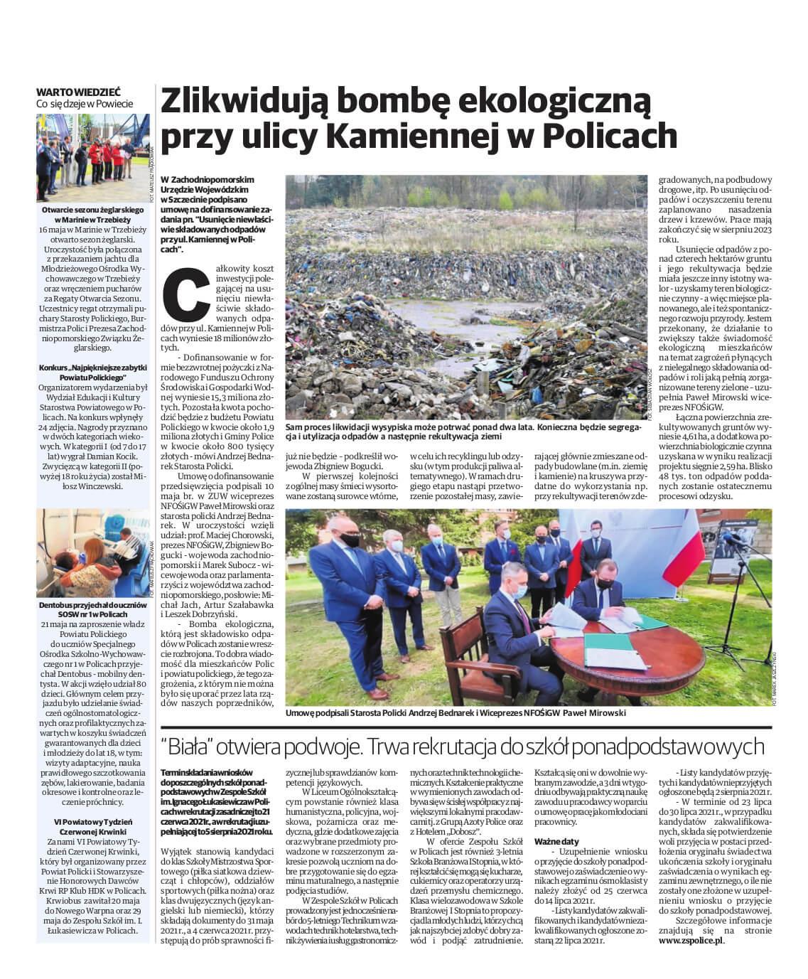 Promocyjna strona Powiatu Polickiego w Glosie Polic