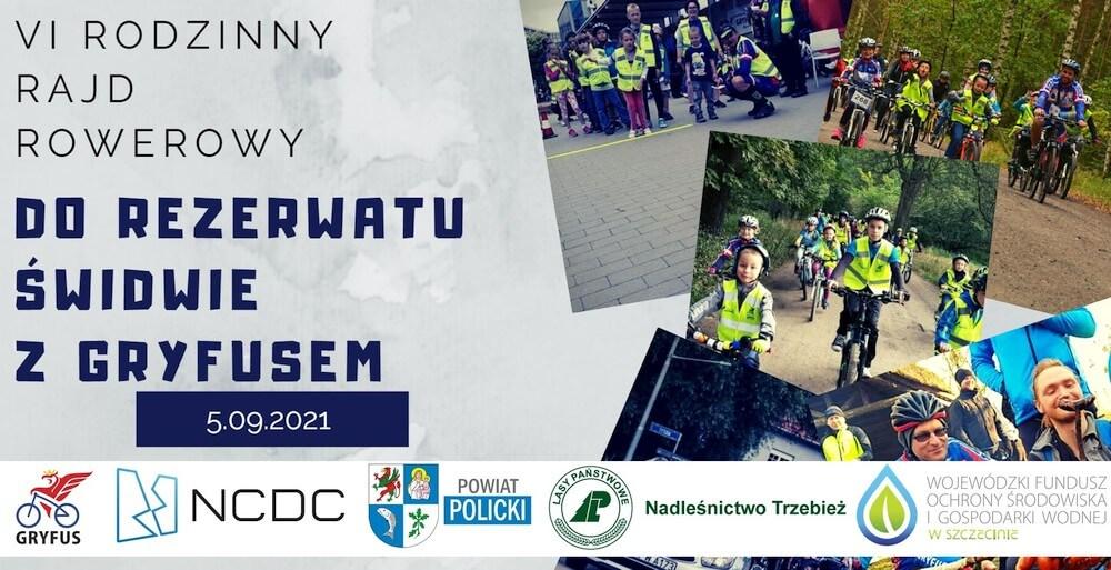 Plakat promujący wydarzenie rajdu rowerowego nad jezioro Świdwie