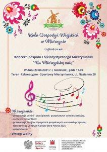 Plakat informacyjny koncertu Zespołu Folklorystycznego Mierzynianki pt. Na Mierzyńską nutę