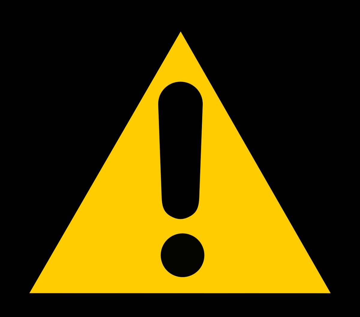Znak ostrzegawczy UWAGA ostrożnie