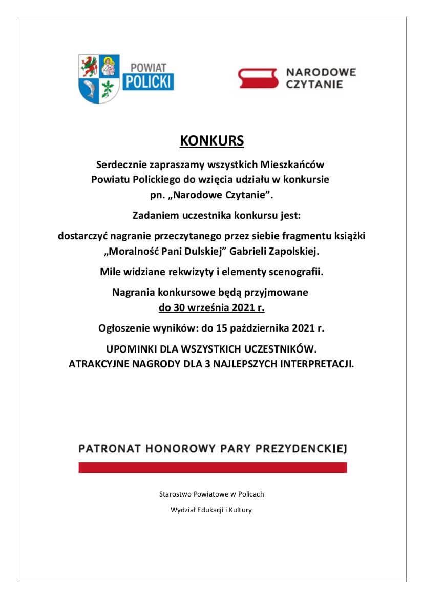 Plakat promujący konkurs pn. Narodowe Czytanie 2021