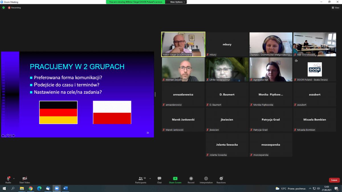 Zrzut z ekranu panelu dyskusyjnego podczas szkolenia online.W tle widać ikonki uczestników szkolenia oraz flagę Polski i Niemiec.