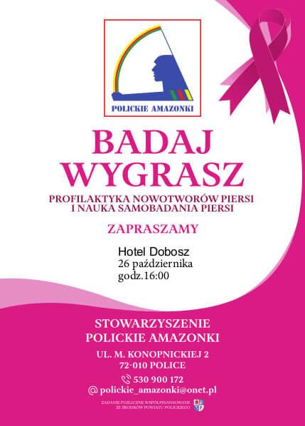 Ulotka dotycząca wykładów i warsztatów dotyczących profilaktyki raka piersi